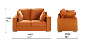 Classic Brush Microfiber Sofa, Small Space Loveseat Couch (Camel)