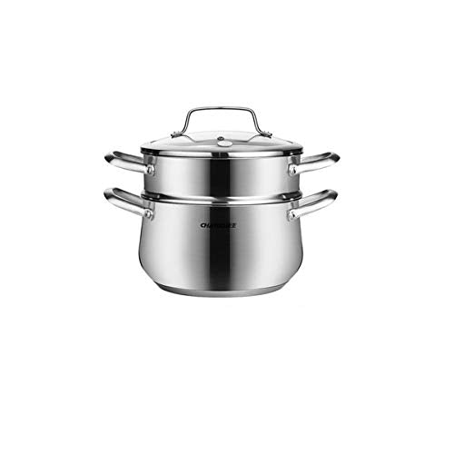 XIONGHAIZI Stainless Steel Pot 304 Soup Pot Small Household Induction Cooker Gas Cooker Large Capacity Thick Steamer Boil Soup Multi-function steamer, (Size : B24cm)