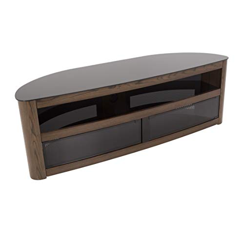AVF Affinity Plus - Burghley Plus 1500 Curved TV Stand (Walnut/Black Glass)