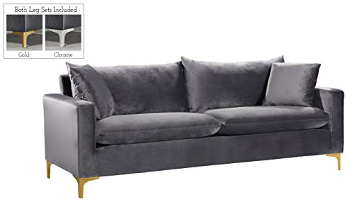 Meridian Furniture 633Grey-S Naomi Collection Modern | Contemporary Grey Velvet Upholstered Sofa with Stainless Steel Base in a Rich Gold or Chrome Finish,