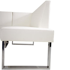 Armen Living LCAMCOWHSF Amanda Sectional in White and Chrome Finish