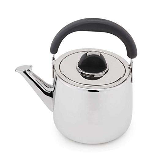 DTTX Kettle Household Induction Cooker Gas Universal Thickening 304 Stainless Steel Automatic Whistle, Stainless Steel, 5L