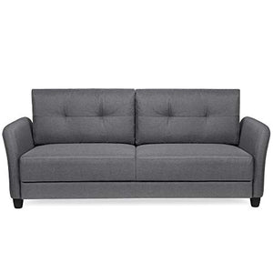 Best Choice Products 76in Linen Fabric Upholstered Contemporary Sofa Couch Lounger, Dark Gray