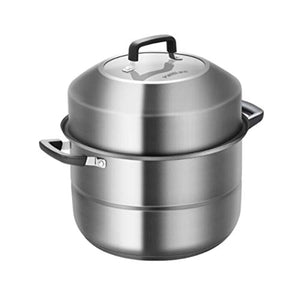 WalledKing Steamer,stainless Steel Steamer, Steamer Two-layer 30cm Steamer, 304 Stainless Steel Steamer, Household Multi-function Large-capacity Steamer, Thick Bottom Three-layer Double-bottom Soup St