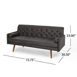 Great Deal Furniture 307789 Truda Mid Century Modern Microfiber Sofa with Button Accents, Slate, Dark Walnut