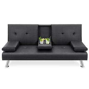 Walsunny Modern Faux Leather Couch, Futon Sofa ,Convertible Sofa Bed with Armrest & Fold Up & Down Recliner Couch with Cup Holders - Black