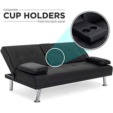 Load image into Gallery viewer, Best Choice Products Modern Faux Leather Futon Sofa Bed Fold Up & Down Recliner Couch with Cup Holders - Black