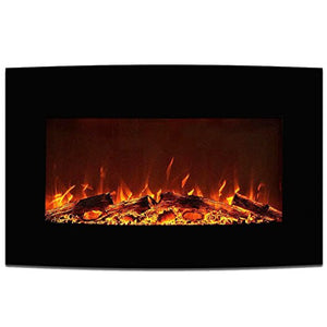 "Elite Flame 35"" York Curved Black Wall Mounted Electric Fireplace"