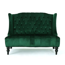 Load image into Gallery viewer, Christopher Knight Home 303354 Leah Traditional Tufted Winged Emerald Velvet Loveseat,