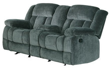 "Load image into Gallery viewer, Homelegance Laurelton 79"" Microfiber Double Glider Recliner Love Seat with Console, Gray"