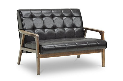Baxton Studio Mid-Century Masterpieces Love Seat, Brown