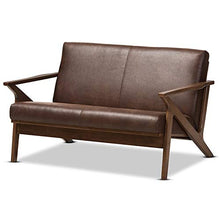Load image into Gallery viewer, Baxton Studio 2-Seater Loveseat in Walnut and Dark Brown