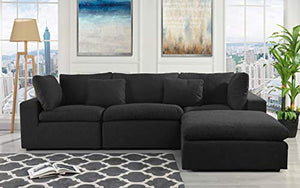 Configurable Sectional Sofa Couch, Convertible Sofa Sectional w/Reversible Chaise Ottoman, 3 Piece (Custom Couch Feature) Modern L-Shaped Sectional Sofa from 2Pc Loveseat to Chaise Ottoman Sofa, Black