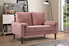 "Load image into Gallery viewer, Container Furniture Direct S5526-L Petra Mid Century Modern Velvet Upholstered Loveseat, 51.57"", Rose"