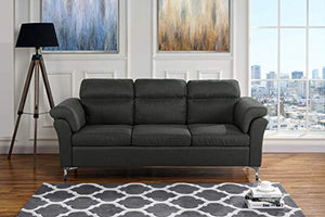 "Upholstered Modern Linen Fabric Sofa, 75.5"" W inches (Dark Grey)"