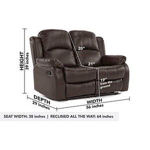Divano Roma Furniture Classic and Traditional Bonded Leather Recliner Loveseat (2 Seater)
