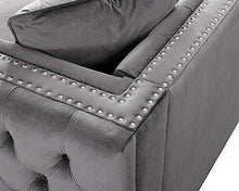 Load image into Gallery viewer, LILOLA Lorreto Gray Velvet Loveseat