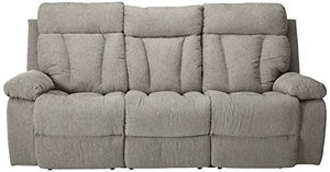 Signature Design by Ashley 7620489 Mitchiner Reclining Sofa with Drop Down Table, Fog