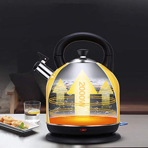 WI Electric Kettle Intelligent Control Electric Kettle Food Grade 304 Stainless Steel Lemon Yellow 4.2L Large Capacity 23 31Cm Easy to Move,Fast Boiling Household Electric Kettle