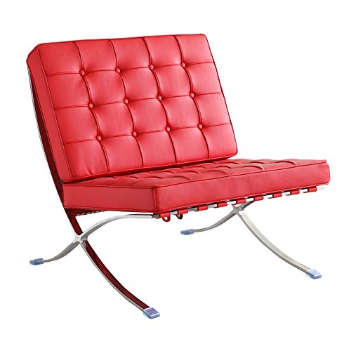 Fine Mod Imports FMI4000P-red Pavilion Chair in Italian Leather, Red