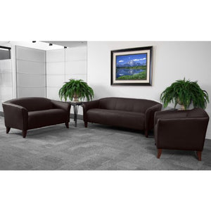 My Friendly Office MFO Emperor Collection Brown Leather Love Seat