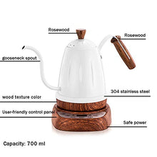 Load image into Gallery viewer, Brewing Coffee Maker Electric Tea Kettle Stainless Steel Boiler Hot Water Tea Heater with Temperature Control Digital Display 0.7 L Gooseneck Narrow Spout Pot,White