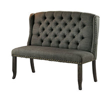 Load image into Gallery viewer, HOMES: Inside + Out IDF-3324BK-GY-BN Noemi Transitional 2-Seater Loveseat Bench, Dark Gray
