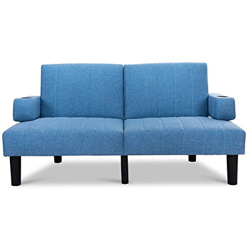 Globe House Products GHP Blue Split Back 3 Back Reclining Angle Futon Sofa Bed Lounge with Armrests