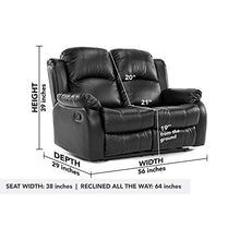 Load image into Gallery viewer, Classic Double Reclining Loveseat - Bonded Leather Living Room Recliner (Black)