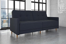 Load image into Gallery viewer, DHP Andora Coil Futon Sofa Bed Couch with Mid Century Modern Design - Navy Blue Linen