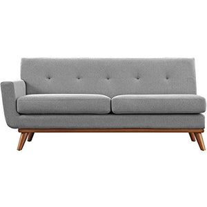 Modway Engage Mid-Century Modern Upholstered Fabric Left-Arm Loveseat In Expectation Gray