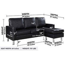 Load image into Gallery viewer, Modern Bonded Leather Sectional Sofa - Small Space Configurable Couch - Black