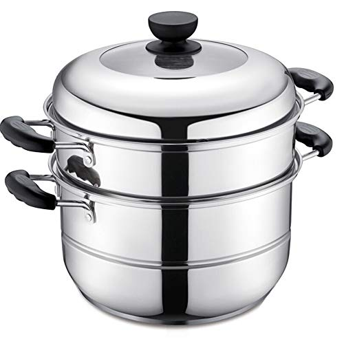 Steamer Pot 304 Stainless Steel Double-layer Double Bottom Steamer Two Layers -28CM