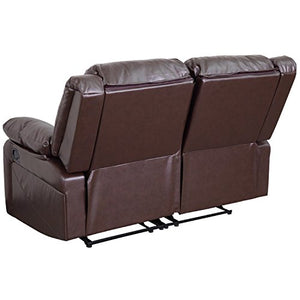 Flash Furniture Harmony Series Brown Leather Loveseat with Two Built-In Recliners