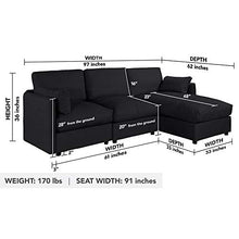 Load image into Gallery viewer, Black Upholstered Linen Sectional Sofa Couch Modern L Shape Sectional, Sectional Sofas and Couches, Sofa Couch with Chaise, for Small/Large Living Spaces, Family Living Room Home Furniture Sectionals