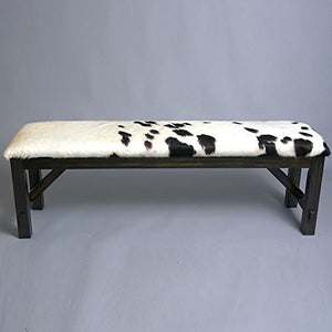 TEXANDECOR Western Genuine Leather Cowhide Hair ON Wooden Table Bench