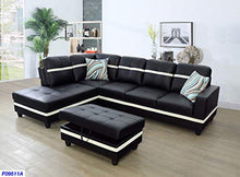Load image into Gallery viewer, Beverly Fine Funiture SHPO9511A-3PC Sectional Sofa Set, Black with White Stripe