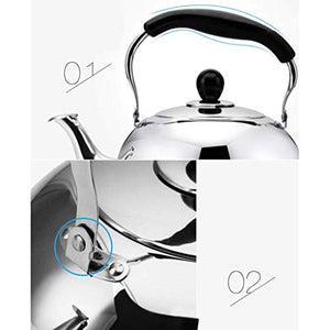 DTTX Kettle Household 304 Stainless Steel Induction Cooker Gas Universal Kitchen Automatic Whistle, Stainless Steel, 5L