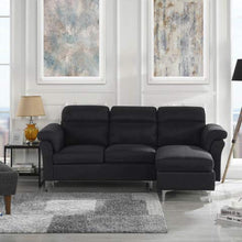 Load image into Gallery viewer, Modern Linen Fabric Sectional Sofa - Small Space Couch (Black)