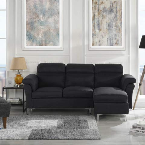 Modern Linen Fabric Sectional Sofa - Small Space Couch (Black)