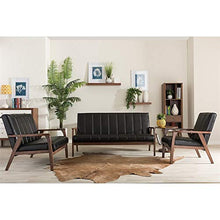 Load image into Gallery viewer, Baxton Furniture Studios Nikko Mid-Century Modern Scandinavian Style Faux Leather Wooden 3 Seater Sofa, Black