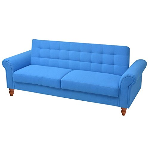 vidaXL Convertible Sofa Bed Fabric Blue Couch Daybed Futon Sleeper Chester