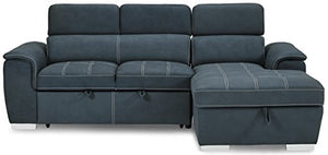 "Homelegance Ferriday 98"" x 66"" Sectional Sleeper with Storage, Blue"