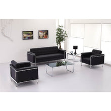 Load image into Gallery viewer, Flash Furniture HERCULES Lesley Series Contemporary Black Leather Loveseat with Encasing Frame