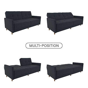 DHP Andora Coil Futon Sofa Bed Couch with Mid Century Modern Design - Navy Blue Linen