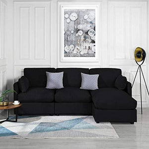 Black Upholstered Linen Sectional Sofa Couch Modern L Shape Sectional, Sectional Sofas and Couches, Sofa Couch with Chaise, for Small/Large Living Spaces, Family Living Room Home Furniture Sectionals