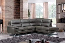 "Load image into Gallery viewer, Homelegance 9969 Genuine Leather Upholstered Sectional Sofa, 98"", Gray"