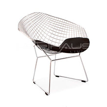 Load image into Gallery viewer, ModHaus Mid Century Modern Bertoia Style Chrome Diamond Accent Chair with Black Faux Leather Seat Pad