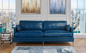 Blue Leather Upholstered Sofa Couch | Modern Blue Wide Top Grain Leather Couch Sofa w/ 2 Accent Pillows, Lounger Home Furniture Small/Large Sofas & Couches for Living/Theater Room Sofa Spaces, Blue
