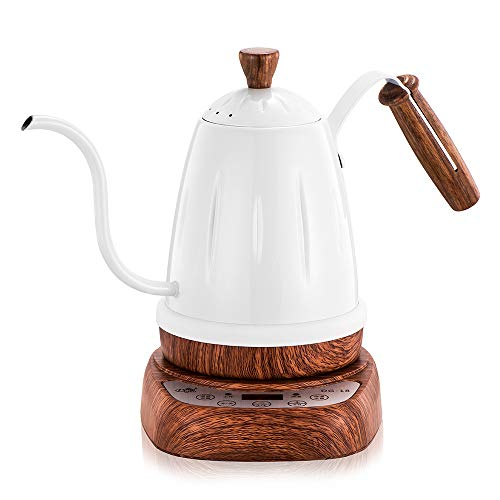 Brewing Coffee Maker Electric Tea Kettle Stainless Steel Boiler Hot Water Tea Heater with Temperature Control Digital Display 0.7 L Gooseneck Narrow Spout Pot,White